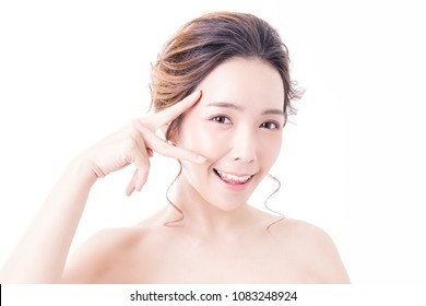 Portrait of asian woman perfect skin care isolated on white background, asian beautiful korean girl with pretty smile her fingers touching her eyes. Surgery eyelid glow skin technology concept