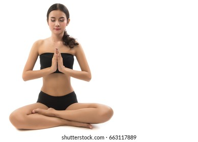 Portrait  of asian woman play yoga over white background. This image for health care concept.