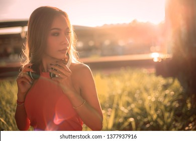Portrait of Asian Woman in sunny day