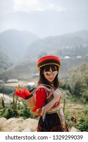 Portrait Asian woman wearing traditional Vietnamese dresses In Cat Cat, Sapa, Vietnam