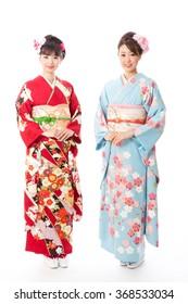 portrait of asian women wearing kimono isolated on white background