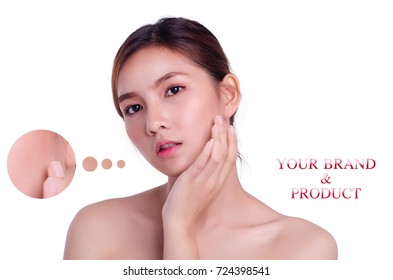 Portrait of asian young beautiful woman with problem and clear skin on white background, free copy space for your creativity ideas text.,skincare, cosmetology and plastic surgery concept.