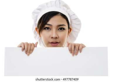 Portrait of Asian young woman chef isolated on white background