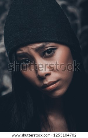 5d2f565a3326 Portrait Asian Young Woman Wool Cap Stock Photo (Edit Now ...