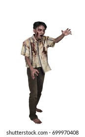 Portrait of asian zombie man with claw hand standing isolated over white background