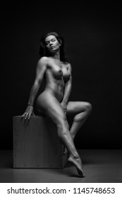 Portrait of  Athletic girl with a fine well-muscled body. Fine-art nude portrait.
