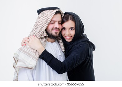 Portrait of attractive arabic couple,dressed middle eastern way.