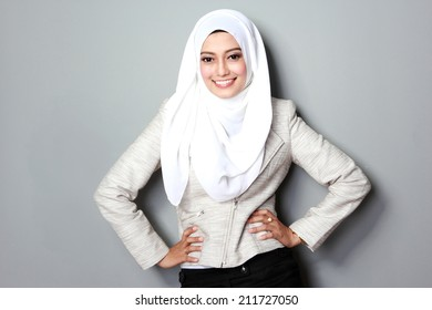 portrait of attractive asian businesswoman with scarf
