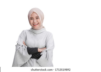 portrait of attractive asian female young muslim woman isolated over white background