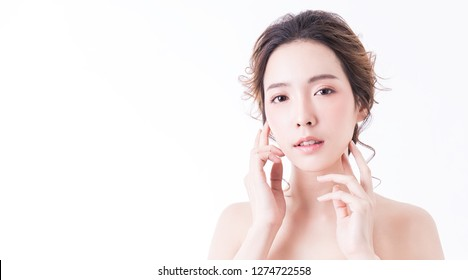 Portrait of attractive asian woman skin care isolated on white, asian beautiful face smiling girl with hand touching her chin. Beauty clinic perfect clear treatment skincare spa surgery concept