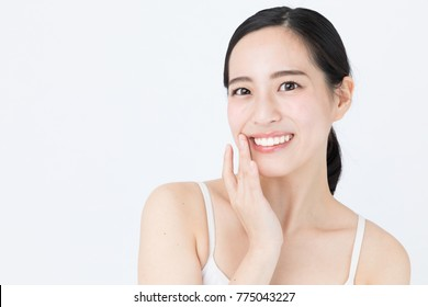 portrait of attractive asian woman skin care image isolated on white background