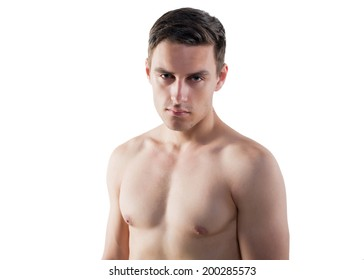 Portrait of an attractive athlete sportsman muscular handsome sexy guy in sport dress, strong man, naked torso