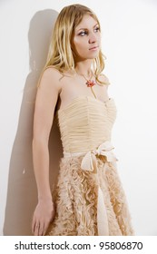 Portrait of the attractive blonde in a dress