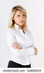 Portrait of an attractive blonde girl standing