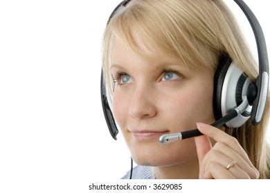 Portrait of attractive business woman with headset isolated over white background.