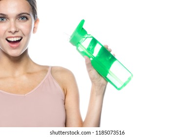 portrait of attractive caucasian smiling woman isolated on white studio shot drinking water sport fitness