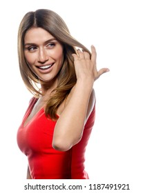portrait of attractive caucasian smiling woman blond isolated on white studio shot red dress lips toothy smile face long hair head and shoulders