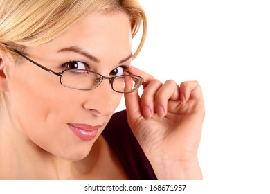 portrait of attractive caucasian smiling woman in glasses isolated on white