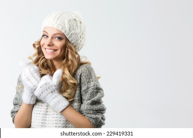 portrait of attractive caucasian smiling woman brunette isolated on white studio shot lips toothy smile face hair head and shoulders winter christmas