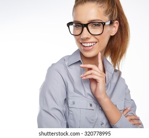 portrait of attractive caucasian smiling woman isolated on white studio with glasses