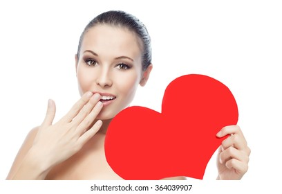 portrait of attractive  caucasian smiling woman isolated on white studio shot red heart valentine's love face skin