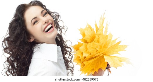 portrait of attractive  caucasian smiling woman isolated on white studio shot looking at camera businesswoman hand holding yellow marple autumn leaves