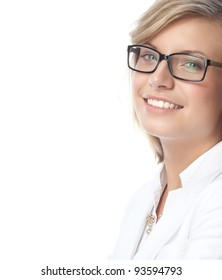 portrait of attractive  caucasian smiling woman isolated on white studio shot looking at camera wearing glasses