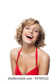 portrait of attractive  caucasian smiling woman blond isolated on white studio shot