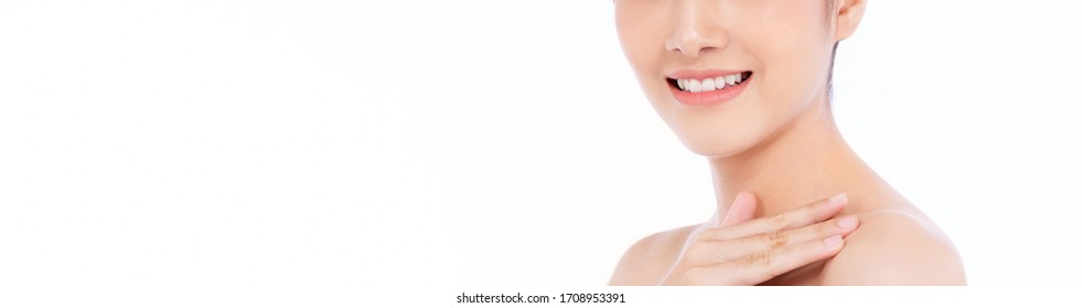 Portrait of attractive caucasian woman with beautiful teeth and skin isolated on white, close up young beautiful face smiling teeth girl. Healthy asian woman teeth whitening dental care concept