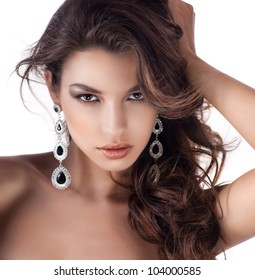portrait of attractive  caucasian  woman brunette isolated on white studio shot