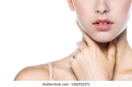 portrait of attractive caucasian woman brunette isolated on white studio shot lips  face head and shoulders hand neck