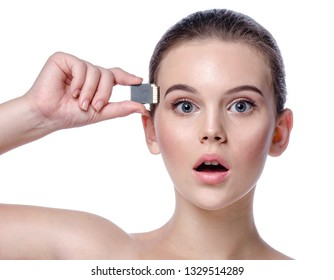 portrait of attractive caucasian woman isolated on white studio shot lips face head and shoulders looking at camera eyes flashcard technologes robots