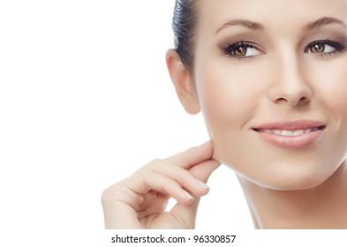 portrait of attractive  caucasian  woman isolated on white studio shot