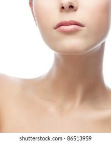 portrait of attractive  caucasian  woman neck  isolated on white studio