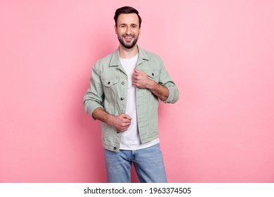 Portrait of attractive cheerful brunet guy wearing good look cosy clothes posing isolated over pink pastel color background - Shutterstock ID 1963374505