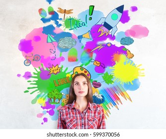 Portrait of attractive european lady with bright colorful sketch. Creativity concept