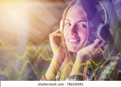 Portrait of attractive european woman listening to music through headphones on abstract background with digital waves. Hobby concept. Double exposure