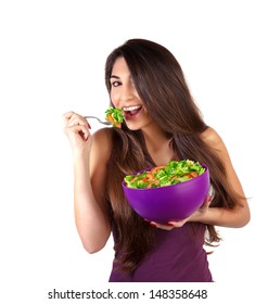 Portrait of attractive female eat salad isolated on white background, body care, loss weight, fresh vegetables, organic nutrition
