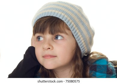 Portrait of attractive girl in beret isolated over white