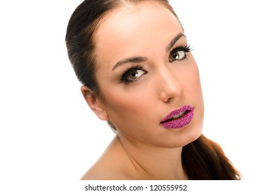 Portrait of attractive girl with fantasy lips. Make up. Perfect skin