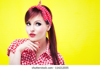 Portrait of an attractive girl looking up
