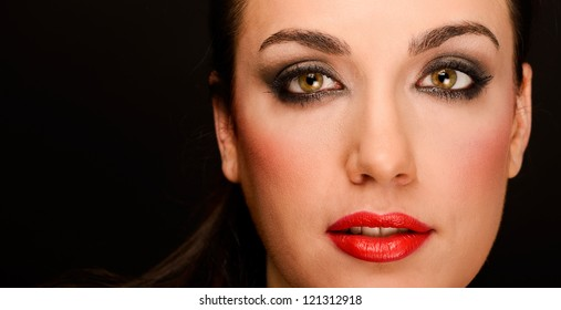 Portrait of attractive girl with red lips. Make up. Perfect skin