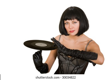 Portrait of the attractive girl with vinyl isolated on the white