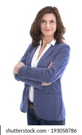 Portrait of a attractive and happy business woman isolated on white.