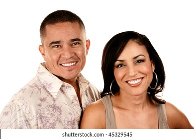 Portrait of Attractive Hispanic Couple on White Background