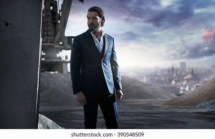 Portrait of attractive man wearing suit