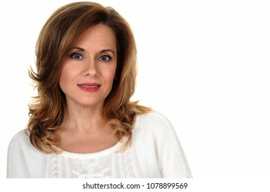 Portrait of an Attractive Mature Woman on White Background