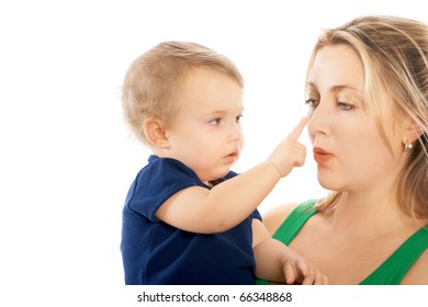 Portrait of attractive mother and nice child,  playing together