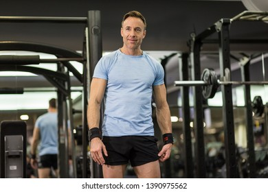 Portrait of an attractive and muscular man at the gym.