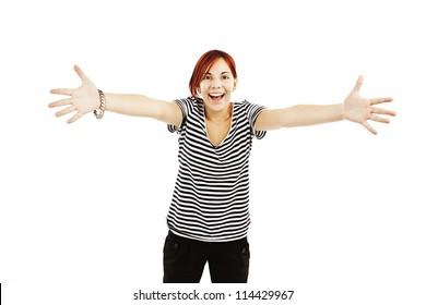 Portrait of attractive smile teenage girl raised up arms hands at you. Isolated over white background